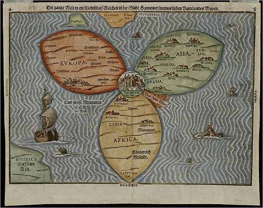 Die gantze Welt in ein Kleberblat by Heinrich Bunting, 1581