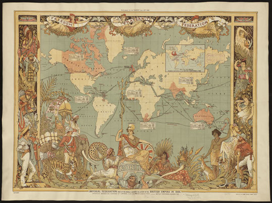 Imperial Federation, map of the world showing the extent of the British Empire in 1886, published by Maclure & Co., 1886 More maps are available for viewing on the collection's website, maps.bpl.org .