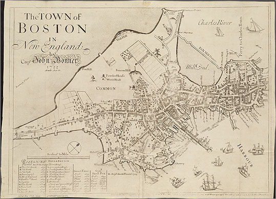 The town of Boston in New England, by John Bonner, 1723