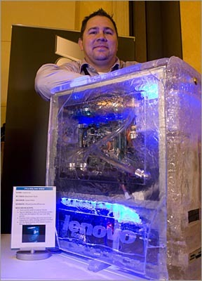 Water-cooled desktop computer This water-cooled PC was another winner in Lenovo's mod contest. The computer is a modified IdeaCenter K320 with a custom 'ice' case.