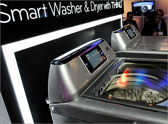 'Smart' washer and dryer Along with the refrigerator is LG's new Smart Washer and Dryer, which is also connected to a network grid that allows its user to manage maintenance and energy usage. No information is available yet on the prices and release dates for these appliances.