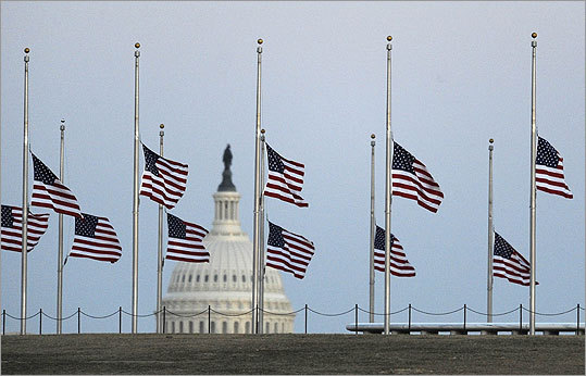 Flags flew at half staff in honor of the victims of the shooting in Arizona.