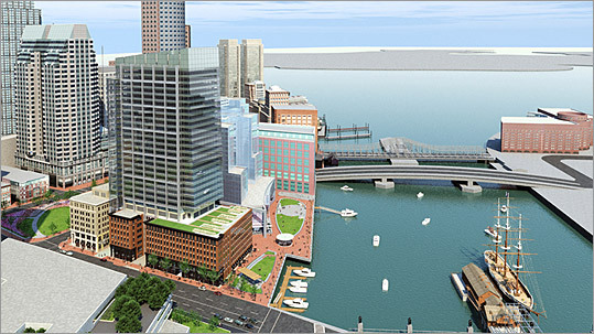 This architectural rendering shows an aerial view of the complex from the Congress Street side of the building. Offices and residences in the complex are split between two buildings -- a seven-story residential structure along Atlantic Avenue, and a 31-story office tower whose base is fashioned out of what used to be the Tufts and Graphics Arts buildings. Those buildings were gutted to make way for new offices, public event space, and ground-floor restaurants.