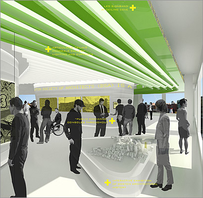 The plans shown here for the Boston Society of Architects' space include 'public exchange' consoles throughout the offices, an LED sign band, and an interactive exhibition of Boston architectural history.