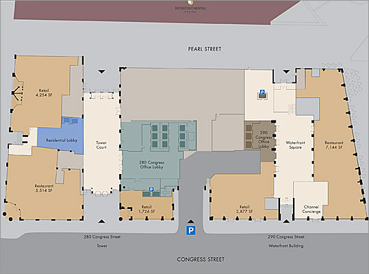 The floor plan of the first floor of the complex is shown here.