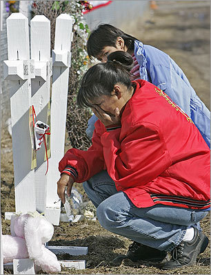 Red Lake Indian reservation, March 21, 2005 High school student Jeffrey Weise opened fire at Red Lake High School on the Red Lake Indian reservation in Minnesota. Weise killed five classmates, one teacher, and an unarmed guard before taking his own life. Earlier in the day, he'd also shot and killed his grandfather and his grandfather's companion.