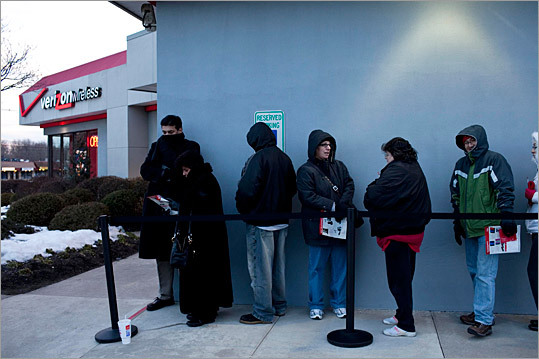 People were lined up at Verizon Wireless stores across the country in early February to get their hands on the iPhone - the first time the popular device has been available on a network other than AT&T. The devices cost $199 for the 16GB version and $299 for 32GB version. Are you unsure if a Verizon iPhone is right for you? Here are 12 things to know about the iPhone, Verizon, and AT&T. – Carli Velocci, Boston.com Correspondent