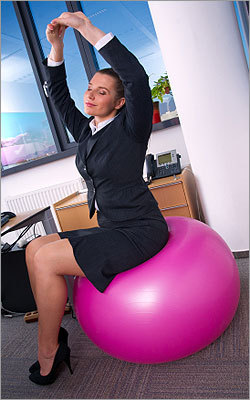 Change it up Wilcox suggests sitting on an exercise ball or exercise ball chair periodically throughout a week, which requires you to activate your abdominal and back extensor muscles (i.e. your core), thus promotes good posture and gains in strength.