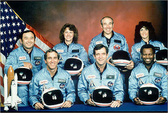 The crew of the Challenger. From front left, astronauts Michael J. Smith, Francis R. (Dick) Scobee, and Ronald E. McNair. Rear left are: Ellison Onizuka, Christa McAuliffe, Gregory Jarvis and Judith Resnick. McAuliffe was chosen from more than 11,000 teachers for NASA's teacher-in-space program in 1986.