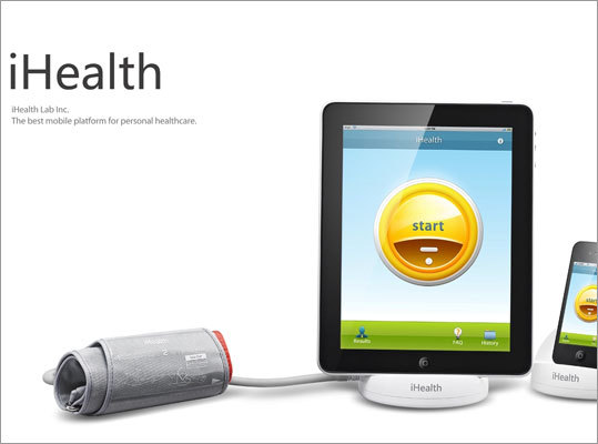 iHealth Blood Pressure Monitoring System The new device is comprised of a hardware dock, blood pressure arm cuff, and the iHealth App to allow users to self-monitor their blood pressure and heart rate using an iPhone, iPod touch, or iPad, and then share the results with their doctors. The iHealth Blood Pressure Monitoring System (battery-powered docking station and blood pressure arm cuff) is available for $99.95/€74 from iHealth99.com.