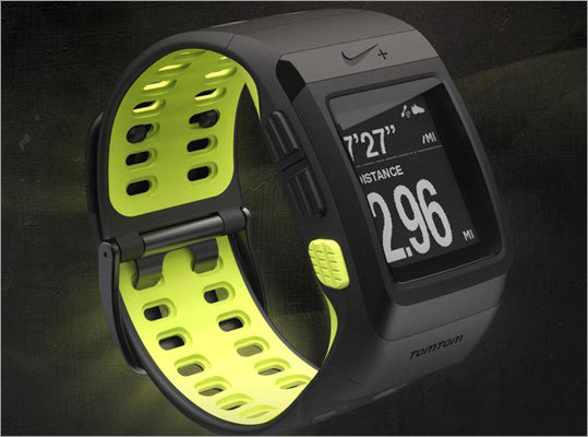 Nike+ SportWatch GPS On April 1, Nike will release its new GSP sports watch, powered by TomTom. Tracks time, pace, distance, calories burned, and heart rate, and just won two CES Innovation Awards. No details on price yet released.