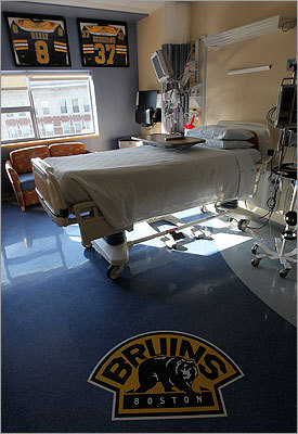 The Neeley pediatric bone marrow transplant unit sports a Boston Bruins theme.