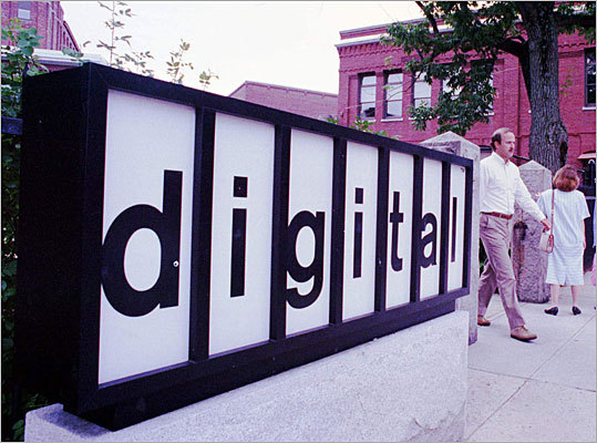 In 1990, soaring demand for personal computers ravaged sales of Digital's minicomputers. The company suffered its first quarterly loss and begins laying off workers. In 1991, Digital posted its first full-year loss. It will lose money in five of the next seven years. Pictured here: The Digital headquarters in Maynard.