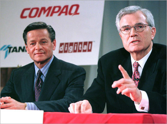Digital was acquired by Compaq Computer Corp. of Houston in 1998. At the time, the transaction was the largest acquisition in the history of the computer industry, valued at $9.6 billion. Pictured here: Compaq president and chief executive Eckhard Pfeiffer, right, and Digital chairman Robert Palmer at a news conference.
