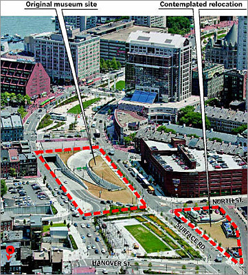 Boston Museum At look at the planned location of the Boston Museum. At one point, planners had hoped to move the center to a different parcel nearby.