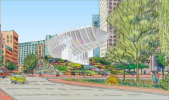 Boston Museum Proposed: 2005 Status: Abandoned in 2008 This project would have created a museum focused on Boston history over a ramp on the Greenway.