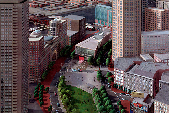 New Center for Arts and Culture This rendering shows an aerial view of the project.