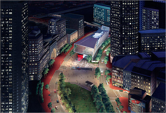 New Center for Arts and Culture</h3 Another aerial rendering of the project, this time showing a nighttime scene. The New Center's mission has been to develop connections among groups historically separated by race, geography, and religion, through lectures, concerts, art exhibitions, and other events.