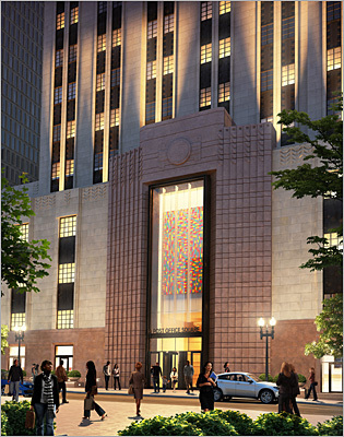 An artist's' rendering shown the plan for the redone entrance to the building.