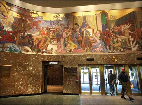 In addition to its unusual architectural style, the Franklin Street building was known for the striking 160-foot mural in its lobby paying homage telephone operators who toiled there for decades. Verizon removed the mural at the owner's request and is now consulting with museums and other institutions to find a new location to display it.