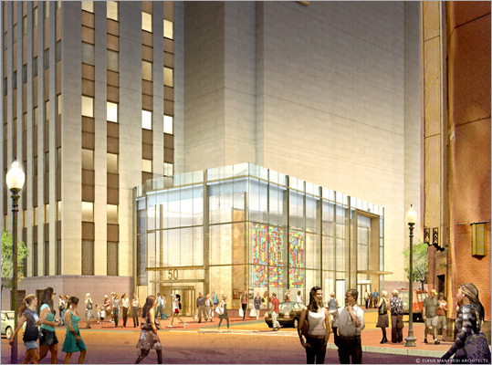 A $35 million project, set to begin this spring, will give the building a makeover both inside and out, renovating both its look and its feel. To the left is a rendering of the future exterior from High Street.