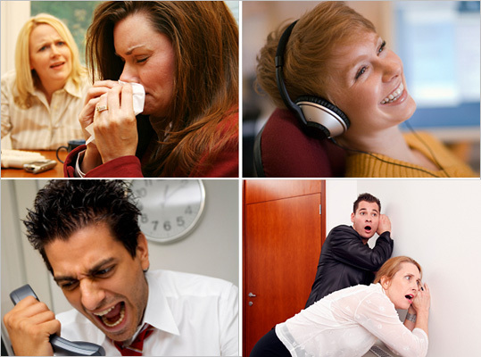 We recently ran down a list of 10 common etiquette offenses that office workers make around technology , and asked Boston.com readers to chime in on what activities annoyed them the most in the workplace. We compiled the best and most ridiculous coworker etiquette offenses that were submitted. There are a ton of complaints, from smelly fish in the microwave, to inappropriate work attire, to people obsessed with the speaker phone option. Read on for some more.