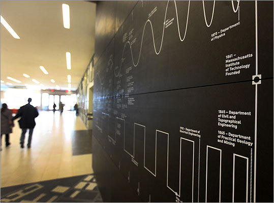A wall shows a timeline of MIT, from 1861 to the present.