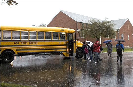 Avon Irish population: 44.9% Located 20 miles south of Boston, Avon has a little less than 5,000 residents. At left, children exit the bus at the end of a school day. Margin of error: +/- 15.7%
