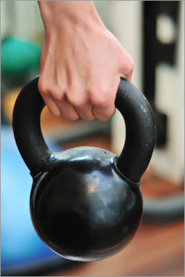 Kettlebells greyvagabond said: 'Insane core strength, challenging, aerobic and strength training at the same time.' About the exercise: Kettlebells are a cast iron weight ranging in size from 4 pounds to 175 pounds. A study published by the American Council on Exercise found one type of Kettlebell workout burned as many calories per minute as running a 6-minute mile. Find a class