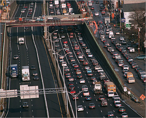 8. Boston Average commute during worst driving hours: 33 percent longer on Friday at 5:30 p.m. This Bay State city is at its worst on I-93 between Exit 5 and Exit 15. This 10.4-mile stretch of road usually takes 10 minutes to complete with no traffic, but can take 29 minutes during rush hour and even up to 38 minutes Wednesday mornings. Pictured: Traffic on I-93 north in Milton.