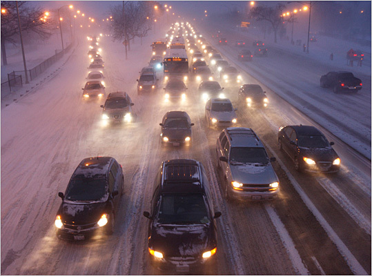 3. Chicago Average commute during worst driving hours: 41 percent longer than normal on Friday at 5:15 p.m. The Windy City's most congested route is the nearly 16-mile stretch on the Dan Ryan Expressway between I-294 and Exit 52B. The route, which usually takes 17 minutes with no traffic, can take on average 49 minutes during rush hour and up to 72 minutes Friday evenings. Pictured: traffic in Chicago during the early February snow storm.