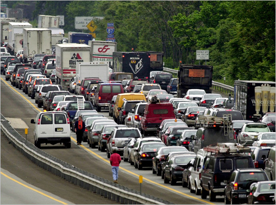 2. New York Average commute during worst driving hours: 47 percent longer than normal to complete at 5:15 p.m on Friday. New York is well known for its congestion. For example, there's the 12.3 mile route on the Cross Bronx Expressway between Exit 13 and Hudson Terrace, which is considered most congested stretch of road in the region. The 13-minute ride during hours with no traffic can take up to 43 minutes during rush hour and may take over an hour on Friday afternoon. Pictured: Traffic on the New York State Thruway in 2003.