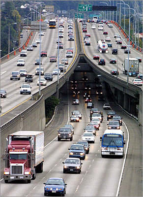10. Seattle Average commute during worst driving hours: 49 percent longer on Thursday at 5:15 p.m. This northwest city's traffic is at its worst on I-405 Southbound between Exit 14 and Exit 10. Normally this 4.5-mile trip takes five minutes to complete with no traffic, but can take 13 minutes during rush hour and 18 minutes Thursday evenings. Pictured: Traffic on Interstate 5 in Seattle.
