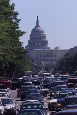 4. Washington, D.C. Average commute during worst driving hours: 51 percent longer than normal on Thursday at 5:30 p.m. The most congested stretch of road outside the nation's capital is on I-95 between I-395 and Exit 148. The 23.9-mile route, which usually takes 23 minutes, can take up to 52 minutes during rush hour and even up to 86 minutes during Friday evening. Pictured: traffic in Washington, D.C., after the Sept. 11 attacks.