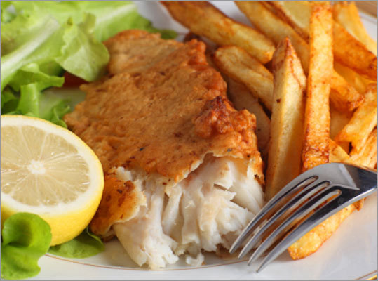 Fish and chips Ingredients: Canola or olive oil cooking spray, russet potatoes, Cajun or Creole seasoning, cornflakes, all-purpose flour, salt, egg whites, Pacific cod or haddock. Nutrition information Calories: 325, Fat: 5 g fat (0 g sat, 3 g mono), Cholesterol 43 mg, Carbohydrates: 45 g, Protein 24 g, Fiber: 3 g, Sodium: 331 mg, Potassium: 955 mg