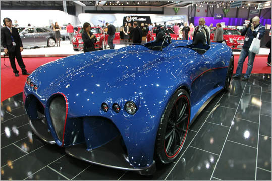 Wiesmann, an obscure German sports car manufacturer with a bent to nostalgia, displayed their windshield-free Spyder concept.