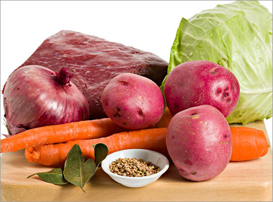 Corned beef and cabbage Ingredients: 1 cured corned beef brisket, trimmed, water, onion, celery, carrot, pickling spice, garlic cloves, cooking spray, caraway seeds, green cabbage, red potatoes, fresh parsley, butter, lemon rind, lemon juice, black pepper, dry breadcrumbs, horseradish, Dijon mustard Nutritional Information Calories: 321 (41% from fat), Fat: 14.5 g (sat 4.6 g, mono 6.5 g, poly 0.8 g), Protein: 22.8 g, Carbohydrate: 27.6 g, Fiber: 10 g, Cholesterol: 86 mg, Iron: 4.3 mg, Sodium: 927 mg, Calcium: 11 mg