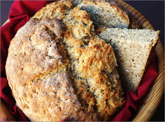 Soda bread Ingredients: All-purpose flour, whole wheat flour, baking soda, salt, buttermilk, cooking spray Nutrition information Calories: 169 (10% from fat), Fat: 1.9g (sat 0.9 g, mono 0.1 g, poly 0.2 g), Protein: 6.2 g, Carbohydrate: 32.4 g, Fiber: 3 g, Cholesterol: 6 mg, Iron: 1.7 mg, Sodium: 355 mg, Calcium: 10 mg