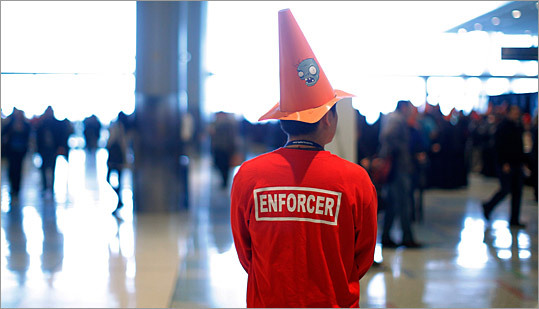 Volunteers, called 'enforcers,' kept watch over the convention.