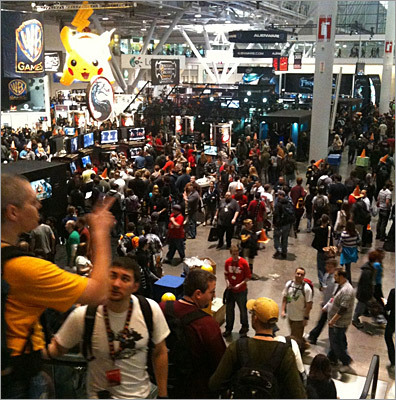 A view from an escalator at the exhibit hall at Pax East, which was packed with dozens of displays and demos from dozens of the top gaming companies, both electronic gaming and table-top board games.