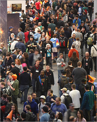 The main floor of the Boston Convention and Expo Center was packed with convention-goers on Friday. The show was expected to be one of the largest in the convention center's history.