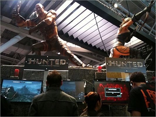 Thousands of gamers crammed the convention floor at PAX East to play games such as Hunted: The Demon's Forge, an action role-playing game from developer InXile. The 'plot' of the game involves two warriors, Caddoc (human fighter on left) and E'lara (elven archer on the right) as they try to save the world of Kala Moor.