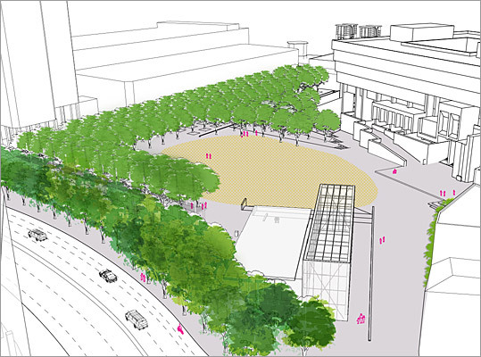 Plans for the future Using funding from the federal Environmental Protection Agency, architects at Utile Inc. are spearheading efforts to redesign the plaza. Here is a first draft rendering Utile produced after consultations with other planners and public officials.