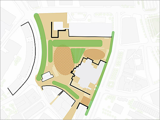 Plans for the future Architects have generated two design plans, each one based on the belief that adding trees will help break up the plaza's sea of red brick and create a more intimate setting.