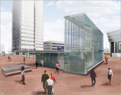 Plans for the future Another look at the glass structure planned for the T entrance.
