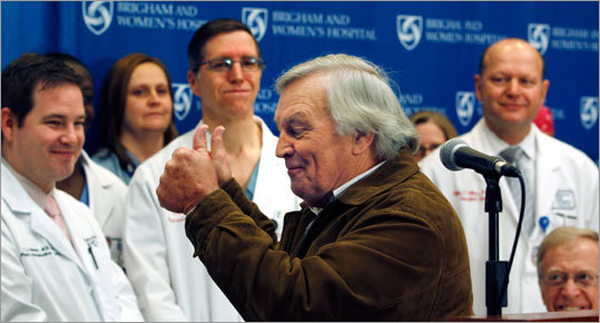 Del Peterson, Wiens's grandfather, gave a thumbs up to the surgical team during a news conference at Brigham and Women's Hospital.