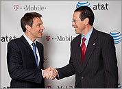 Deutsche Telekom Chairman and CEO Rene Obermann and AT&T Chairman and CEO Randall Stephenson