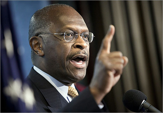 Herman Cain Cain tells the inspirational story of how he rose from Morehouse College to successful careers with Coca-Cola and Pillsbury, before heading into a Burger King to learn the restaurant business from bottom-up. That led him to become head of the Godfather's Pizza chain and resurrect it from the brink of bankruptcy. Most recently a radio talk show host, Cain recently had to deflect charges of racism when he declared he would not allow a Muslim into his Cabinet. He has since apologized for what were perceived as anti-Islamic statements.