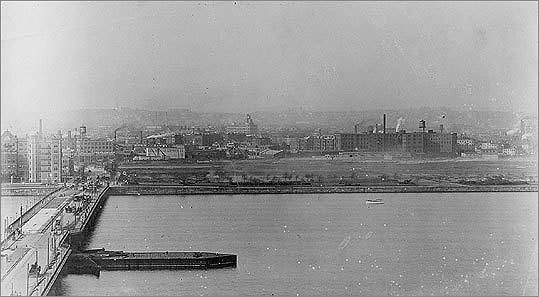 The future site of the MIT campus is shown as it appeared in 1890, before the college moved to Cambridge.