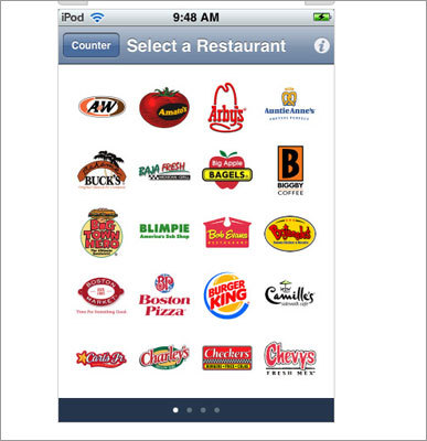 Fast-food calorie counter This app contains a database of more menu items from more than 70 fast food chains, and can track the calories in the fast foods you eat, view nutrition charts for the food items you choose, create custom meals, and more. Available for: iPhone and iPod Touch as well as Android phones Price: 99 cents (iPhone) $2.99 for Android version.